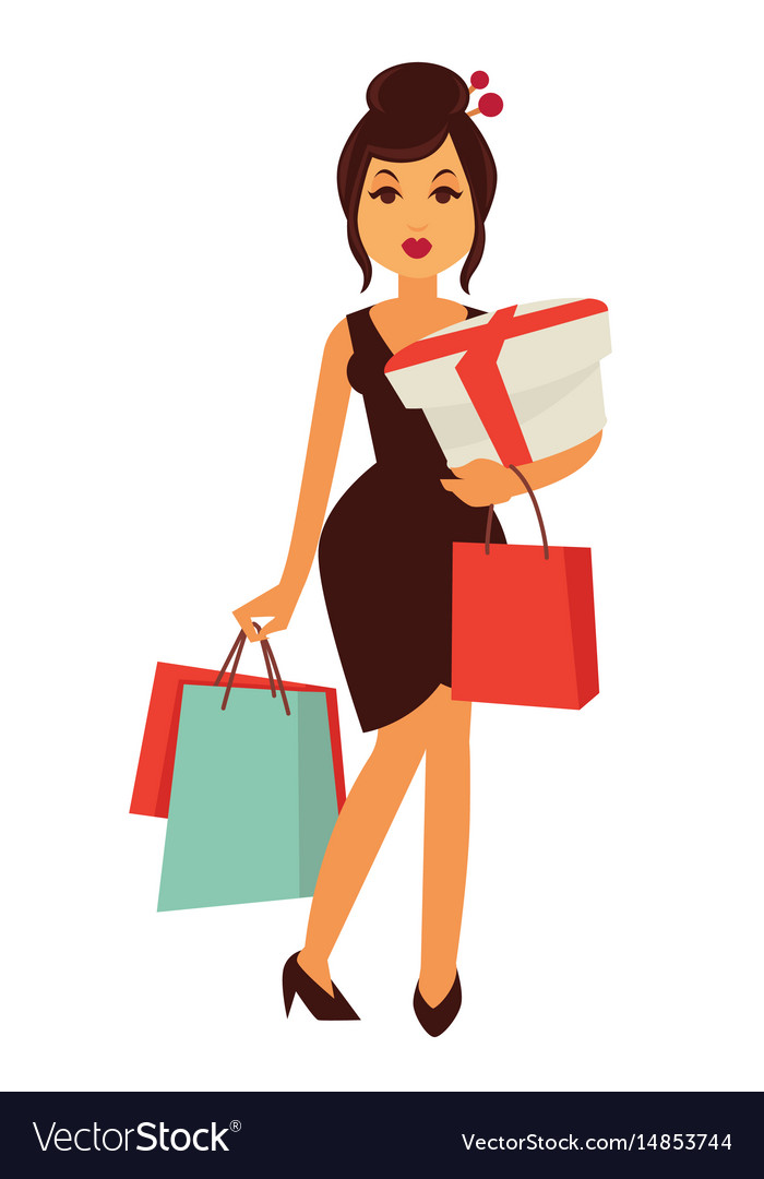 Woman dressed in chinese style with bags and box vector image
