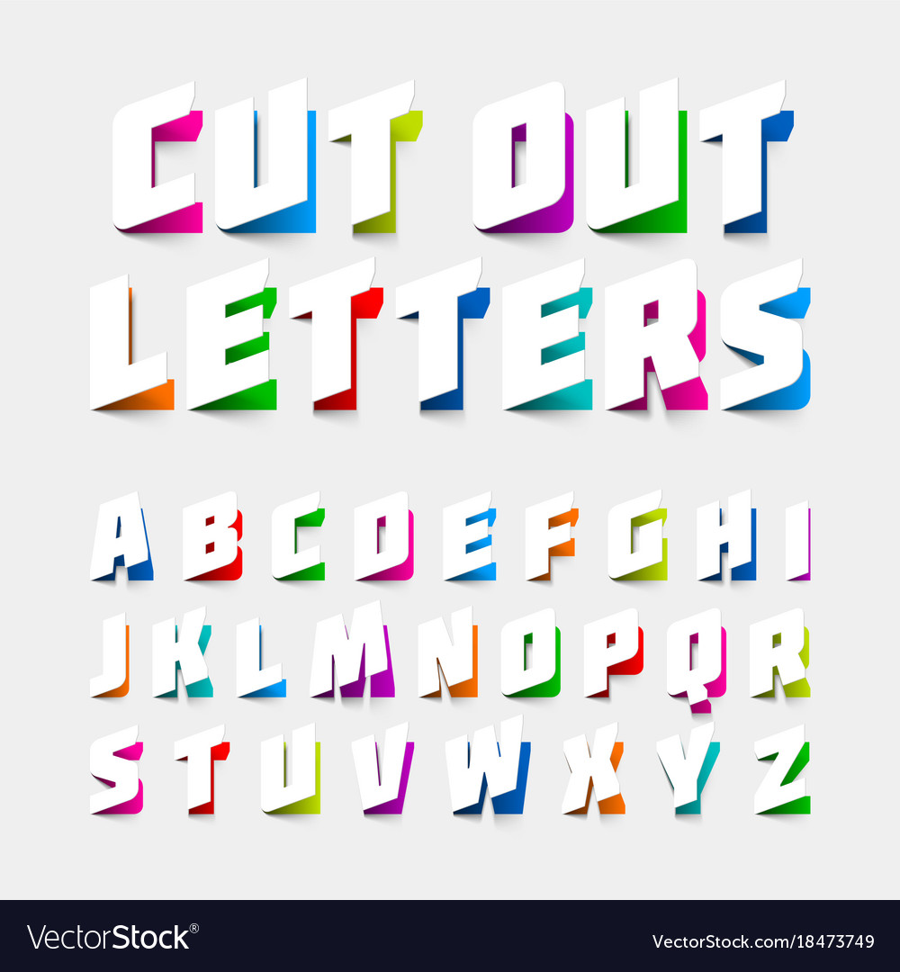 alphabet letters cut out from paper vector image