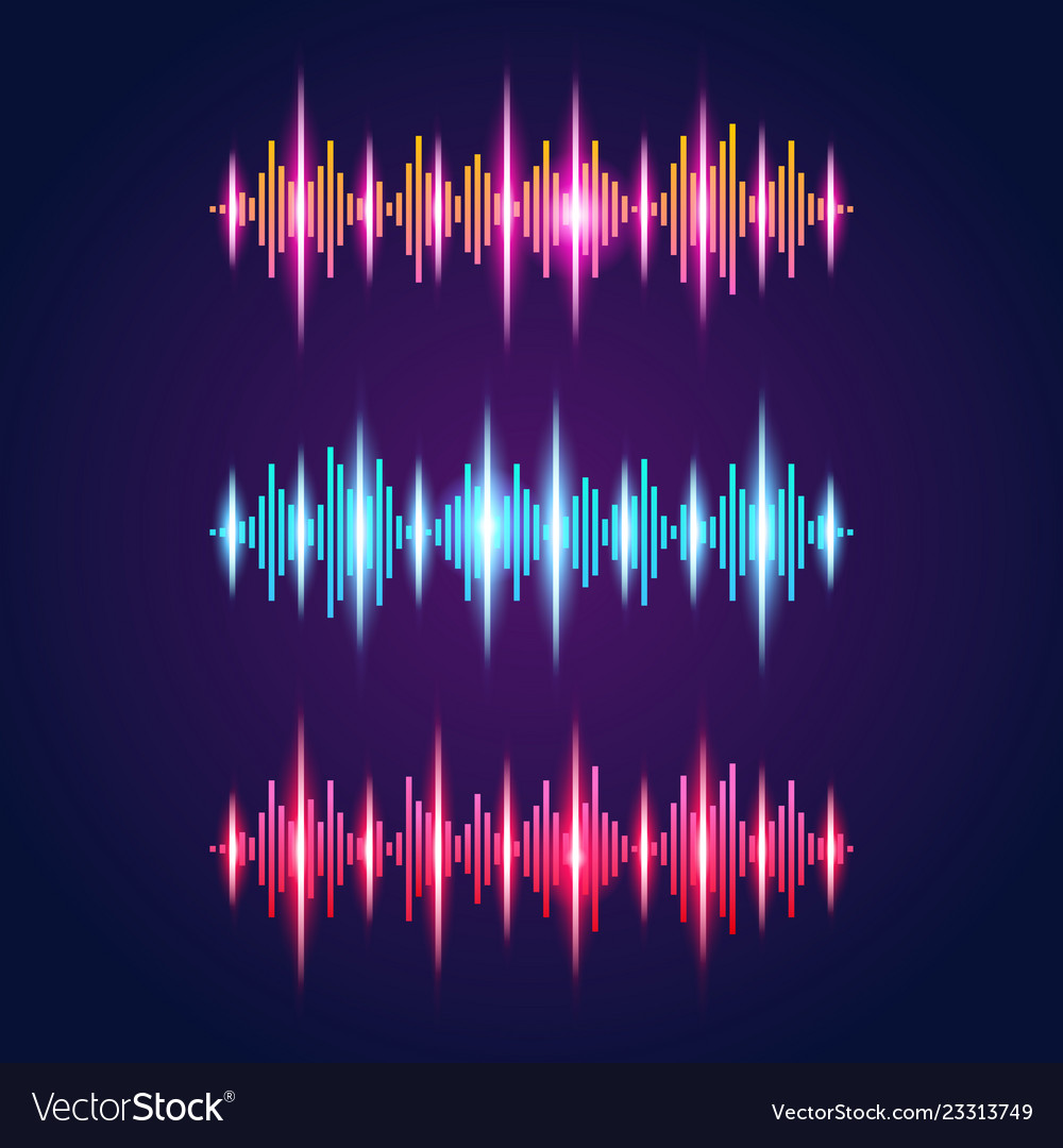 Audio equalizer neon set with sound waves symbols