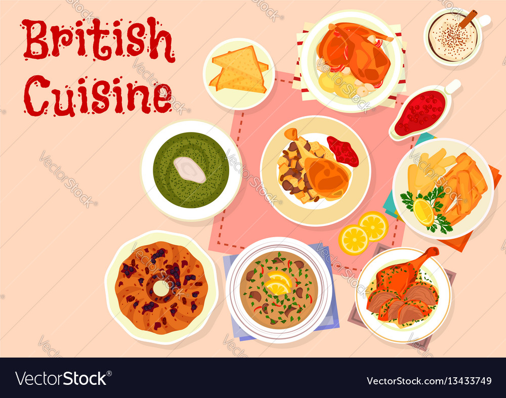 British cuisine traditional dinner menu icon vector image forumfinder Gallery