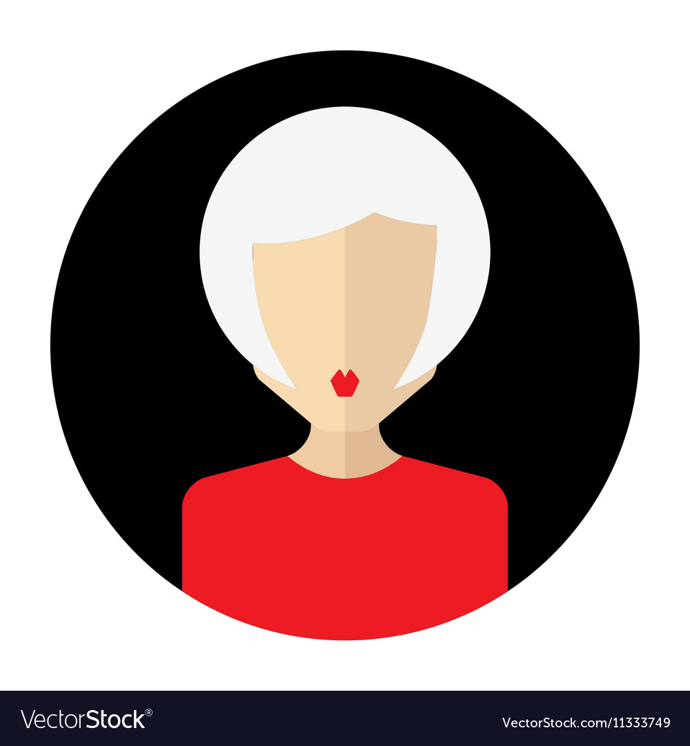 Female face avatar round flat icon with women vector image