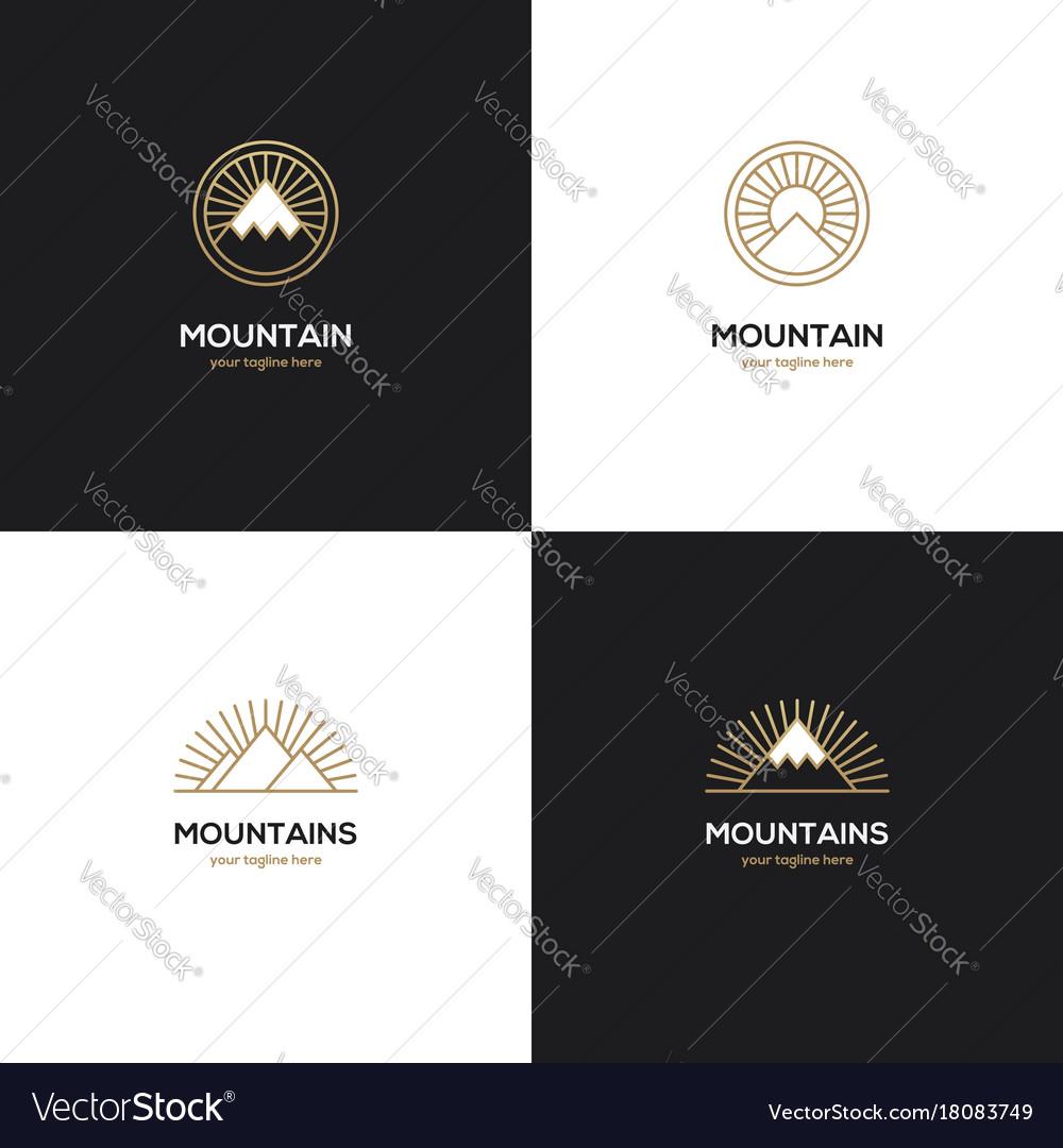 Four mountain logo in golden color