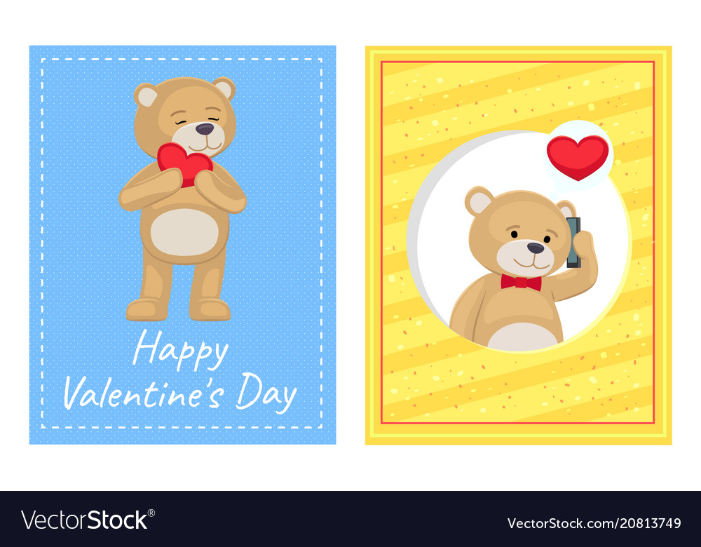 Happy valentines day posters set plush bears toys vector image