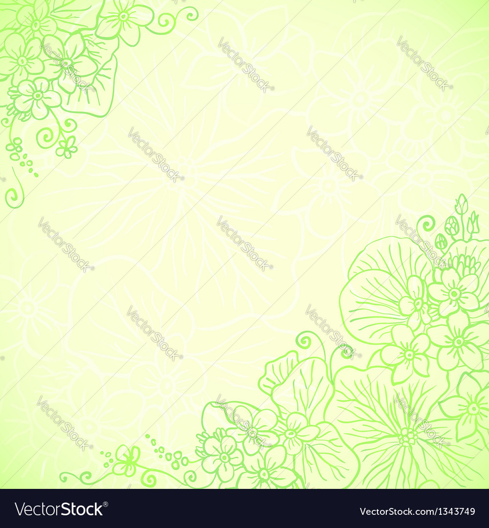 Light Green Ornate Flowers Background Royalty Free Vector