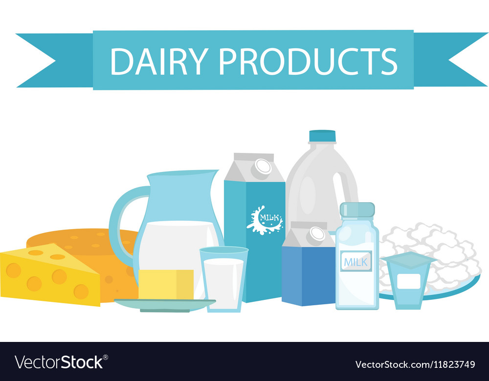 Milk products still-life Flat style Dairy
