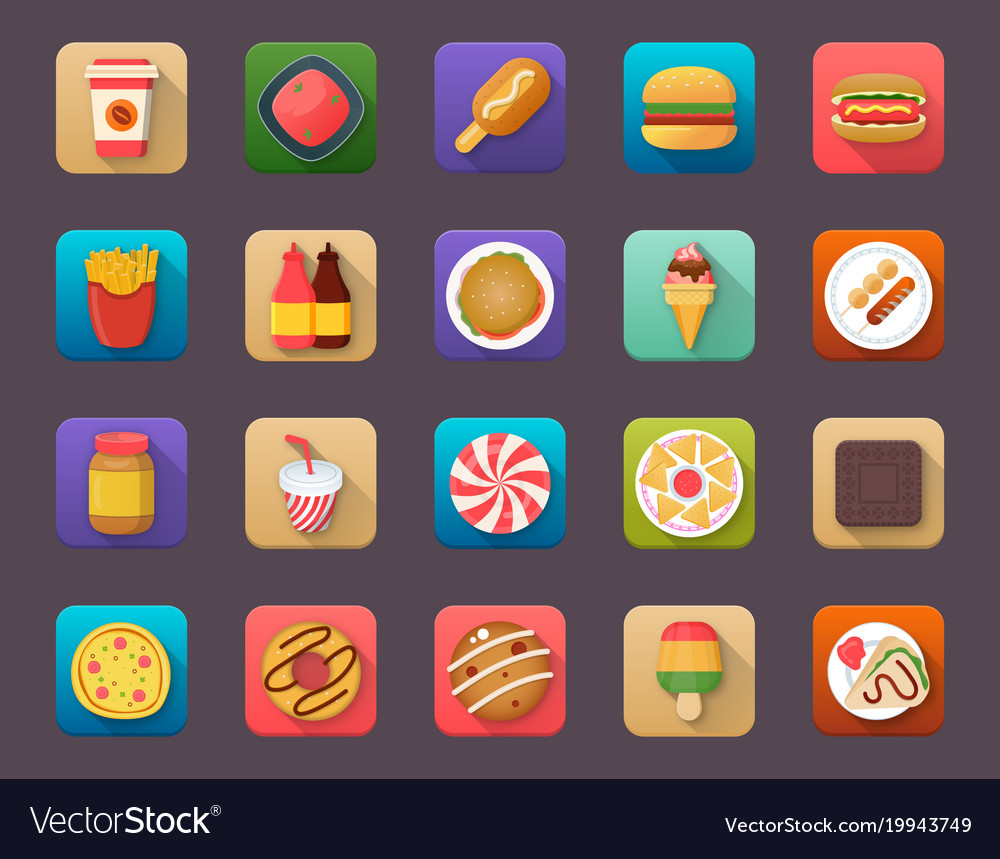 Pack of food elements flat icons