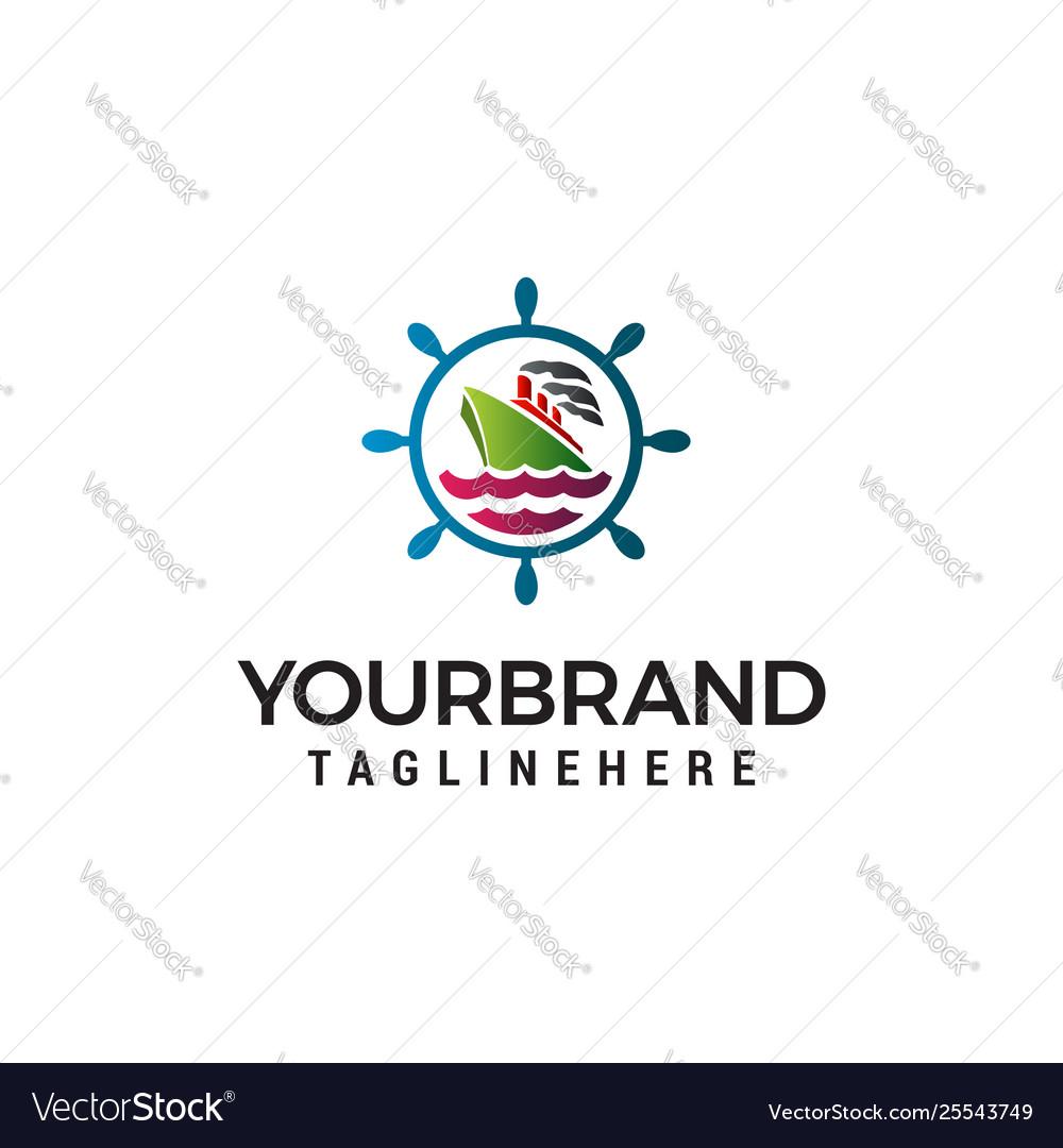 Sailor nautical logo design concept template