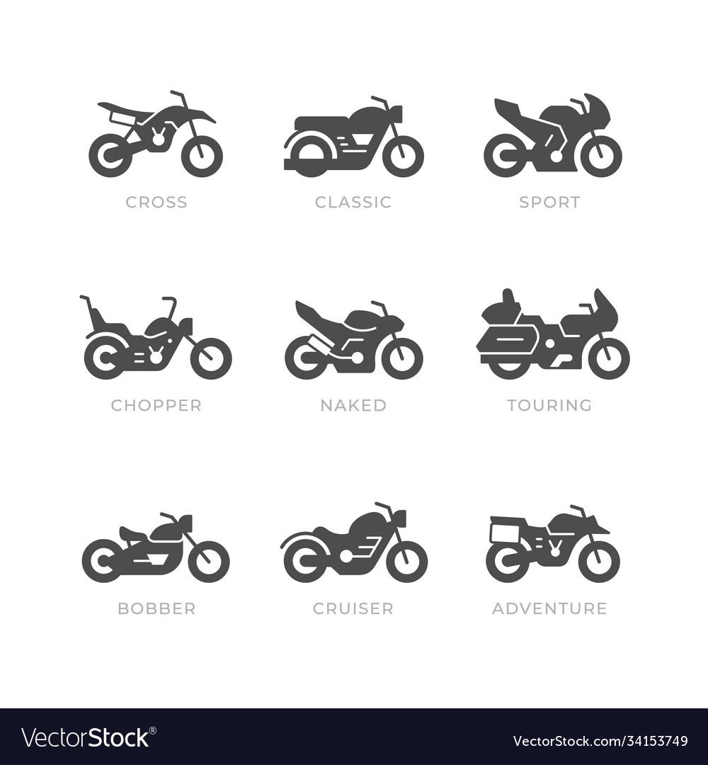 Set glyph icons motorcycle