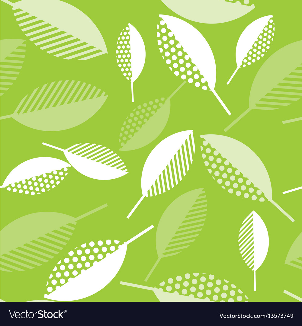 Spring green leaves abstract seamless pattern