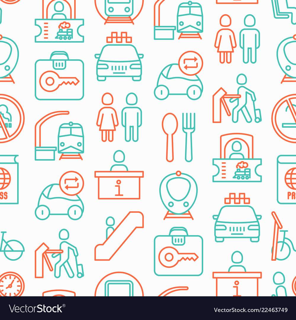 Train station seamless pattern vector