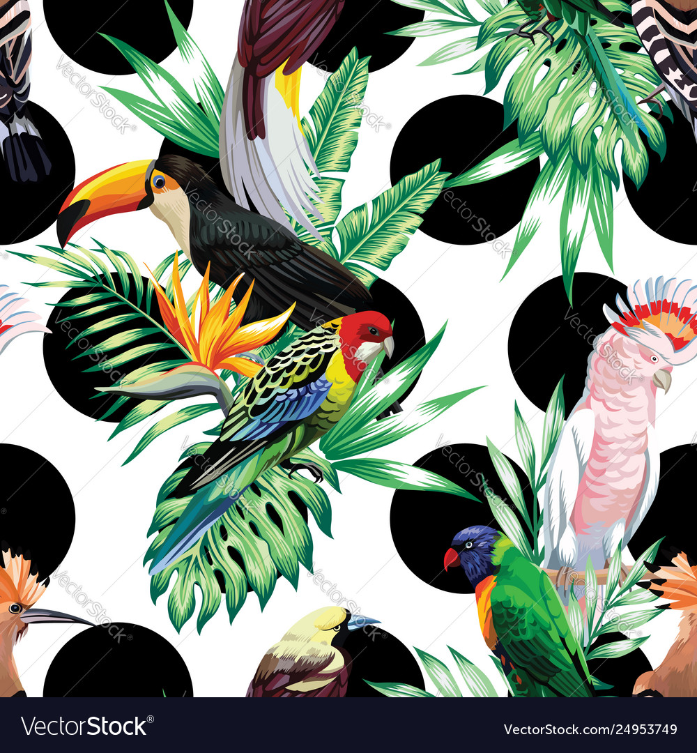Tropical birds and palm leaves pattern black