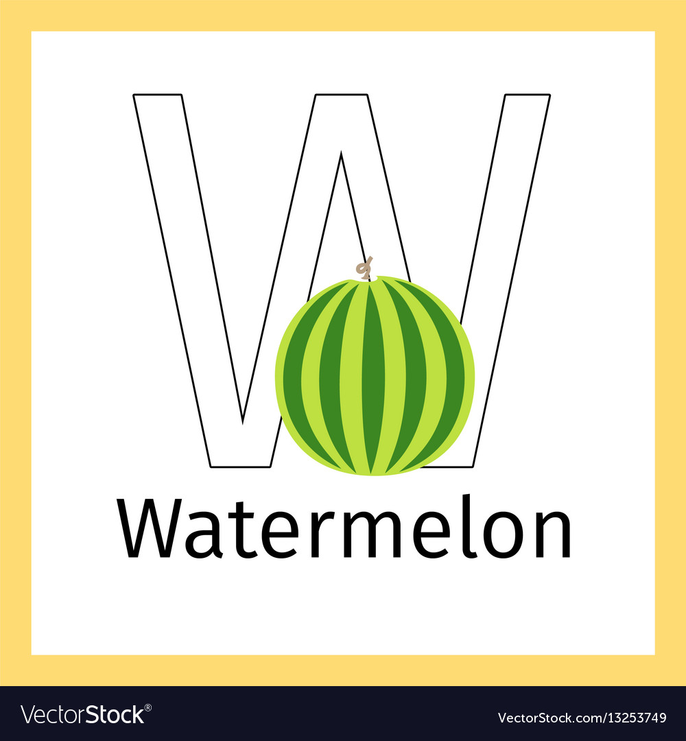 Watermelon and letter w coloring page Royalty Free Vector