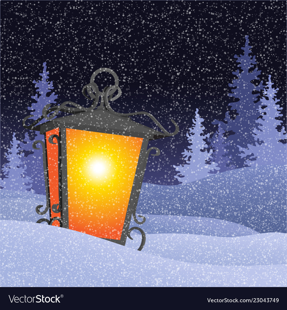 Winter landscape with vintage lantern in snowbanks