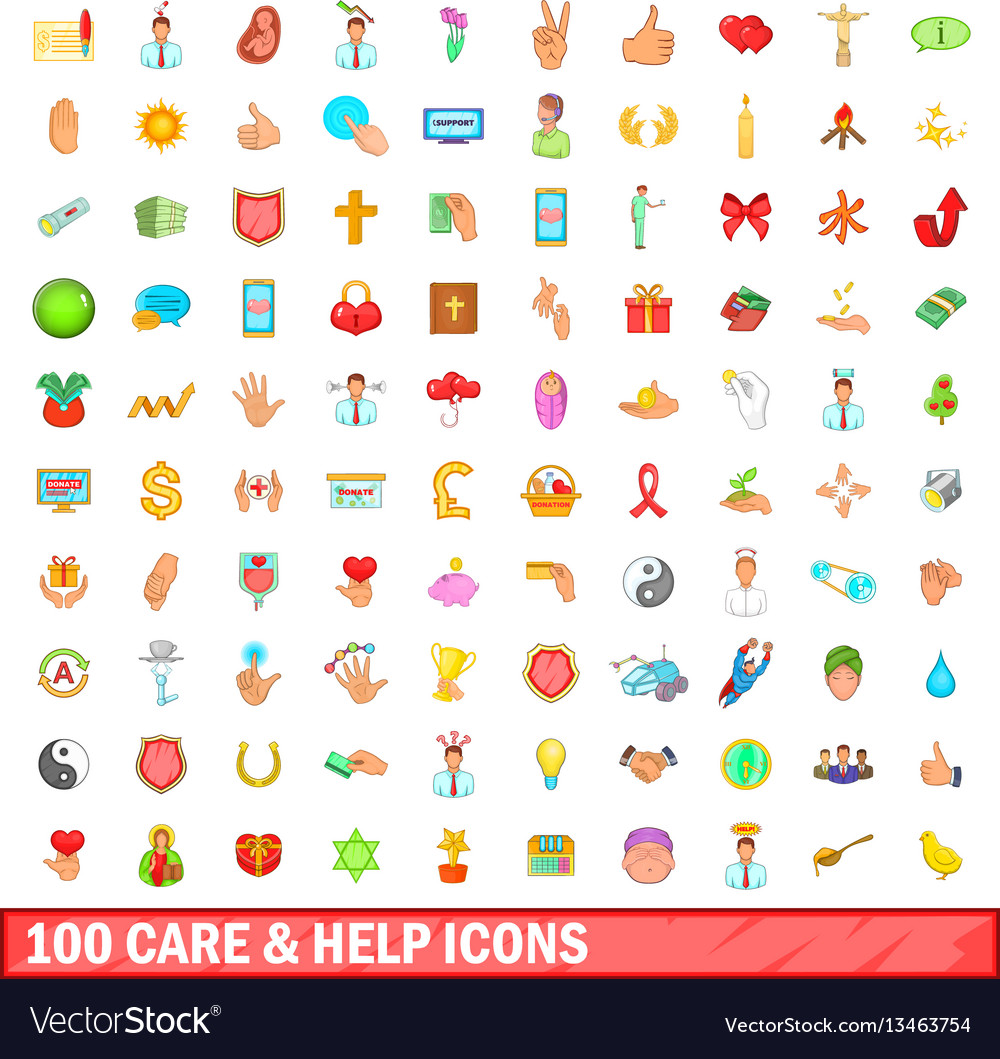 100 care and help icons set cartoon style