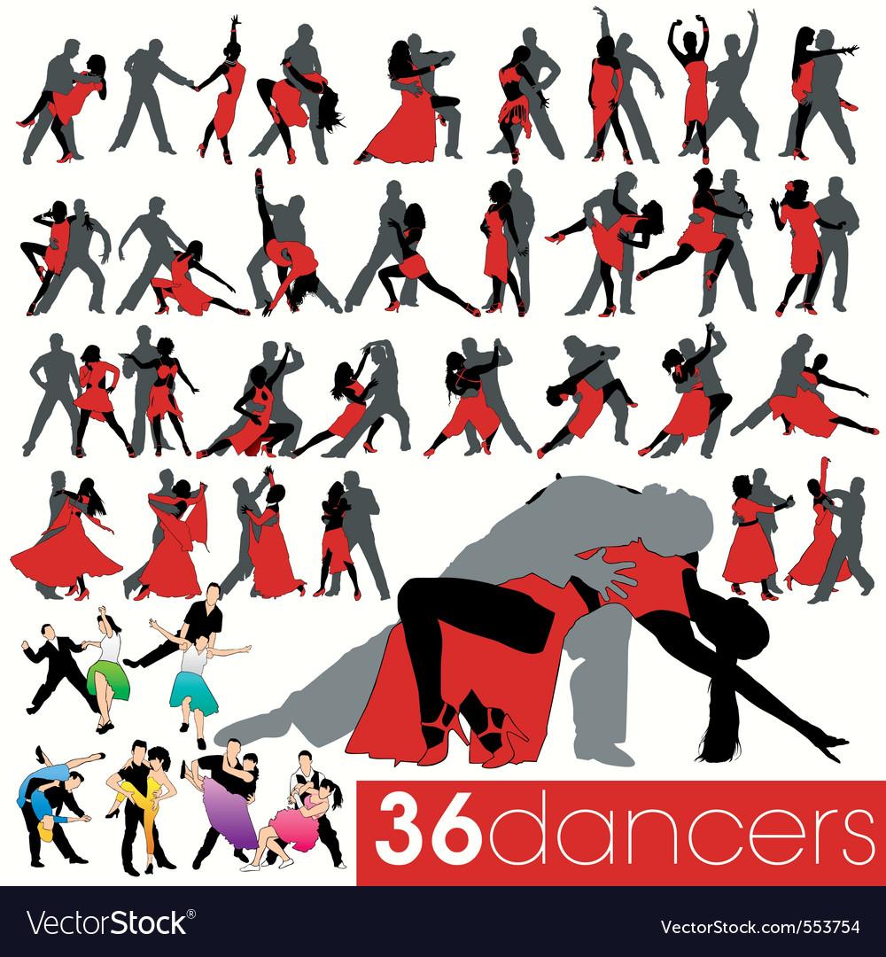 36 dancers silhouettes set