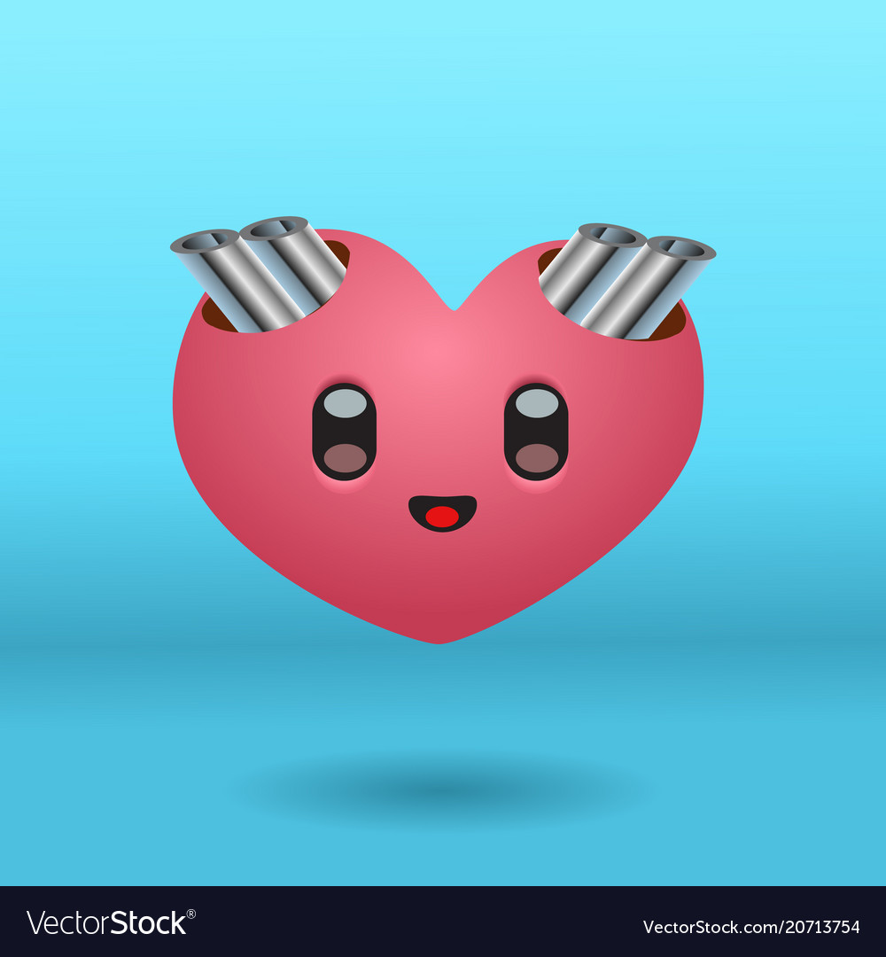 A cute heart character with exhaust pipes