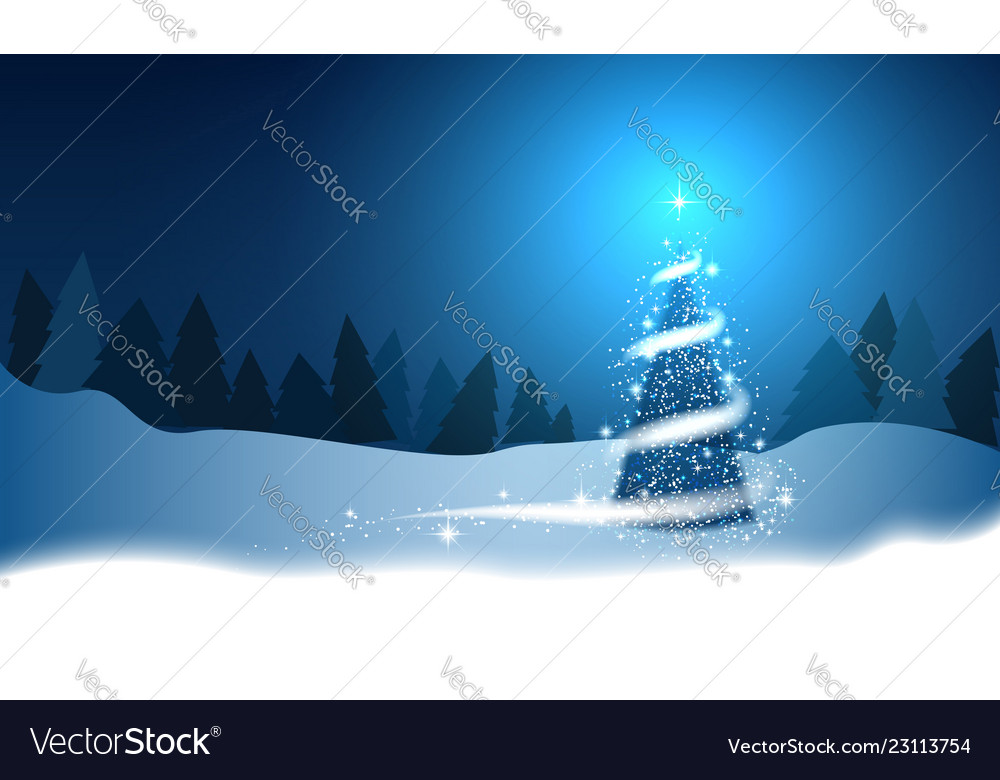 Christmas tree blizzard stars snow sky night wood