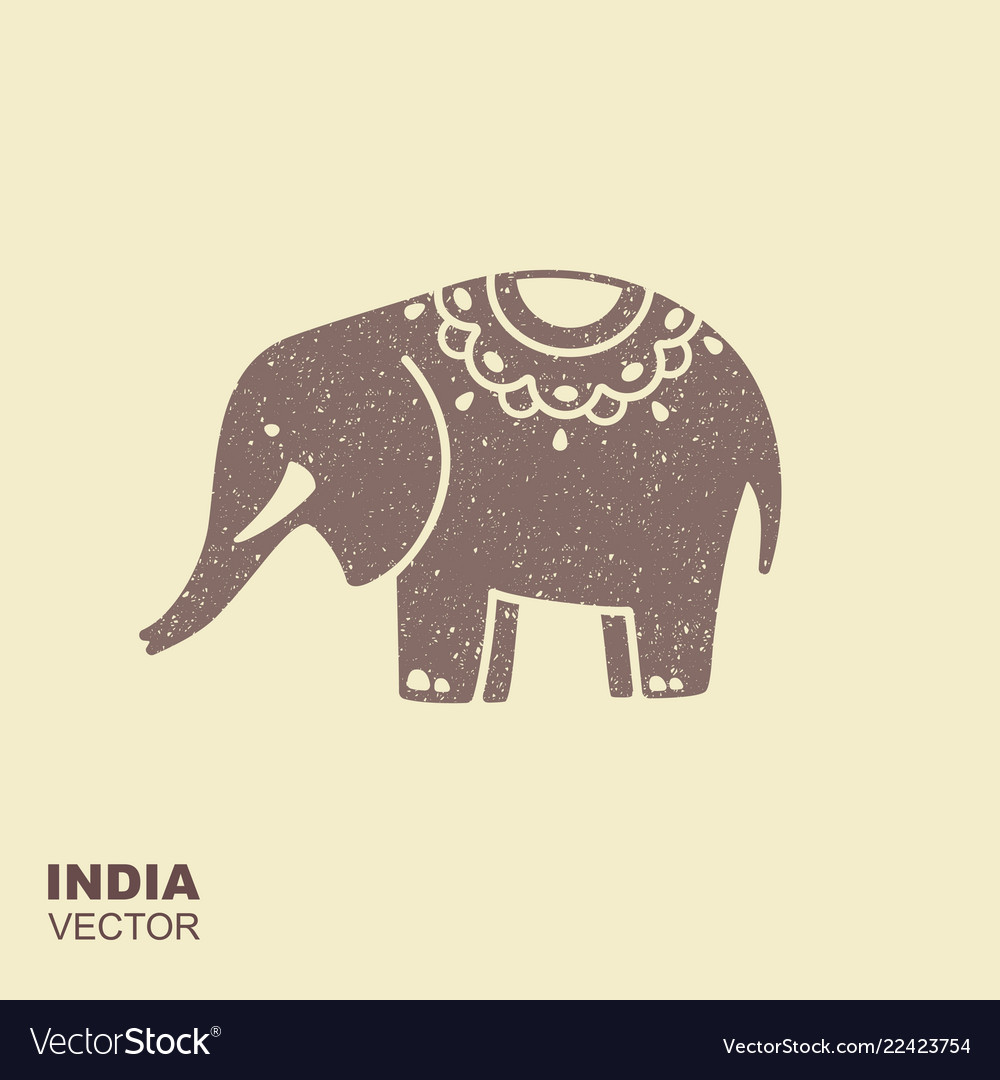 Elephant stylized flat icon with scuffing effect