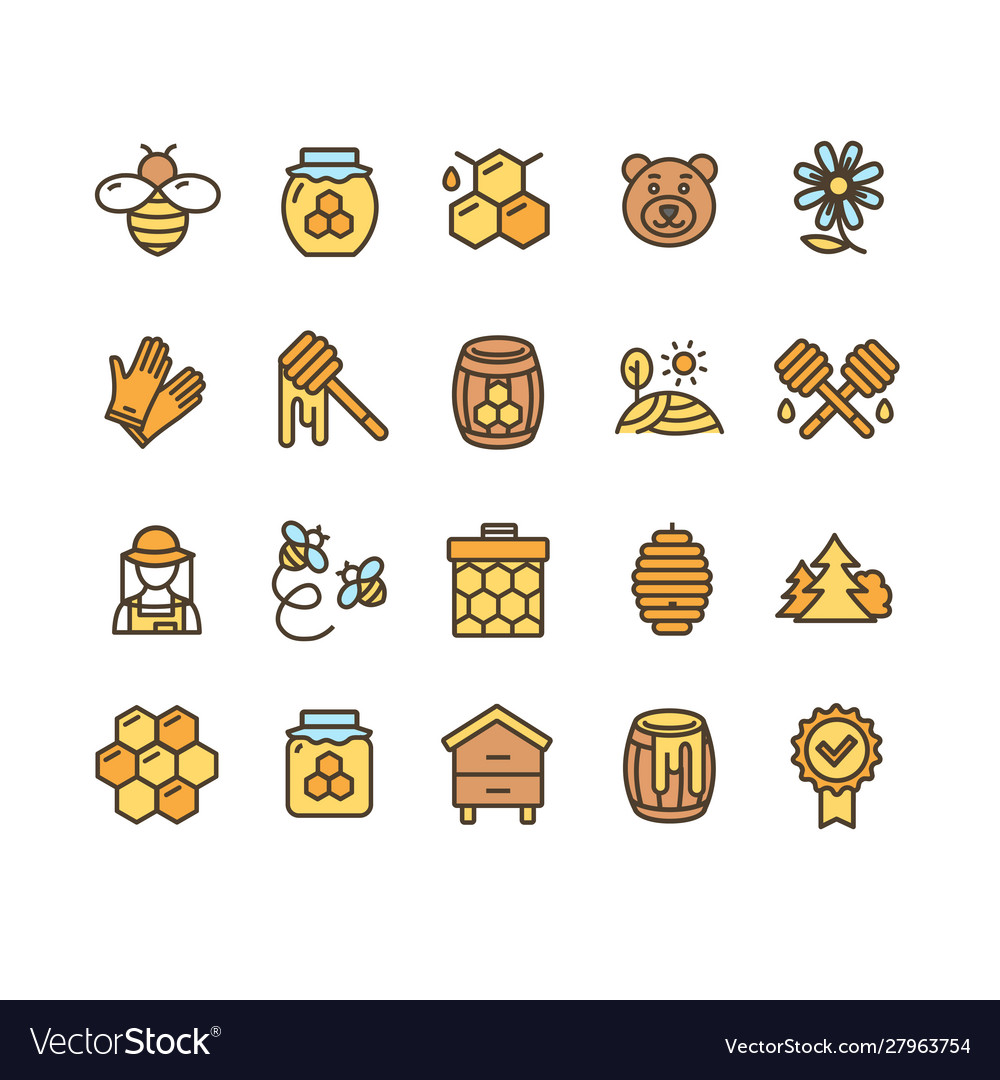 Honey sign color thin line icon set