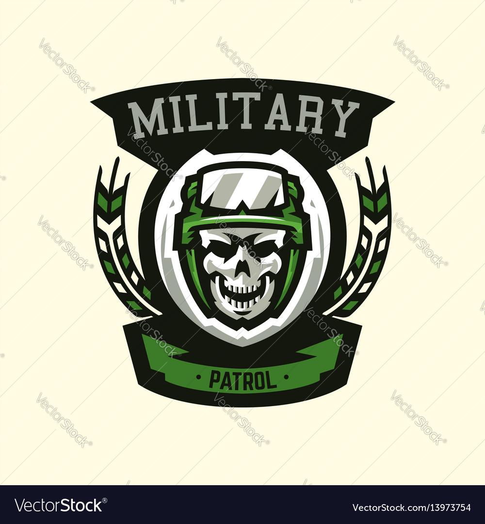 Logo emblem military theme skull helmet