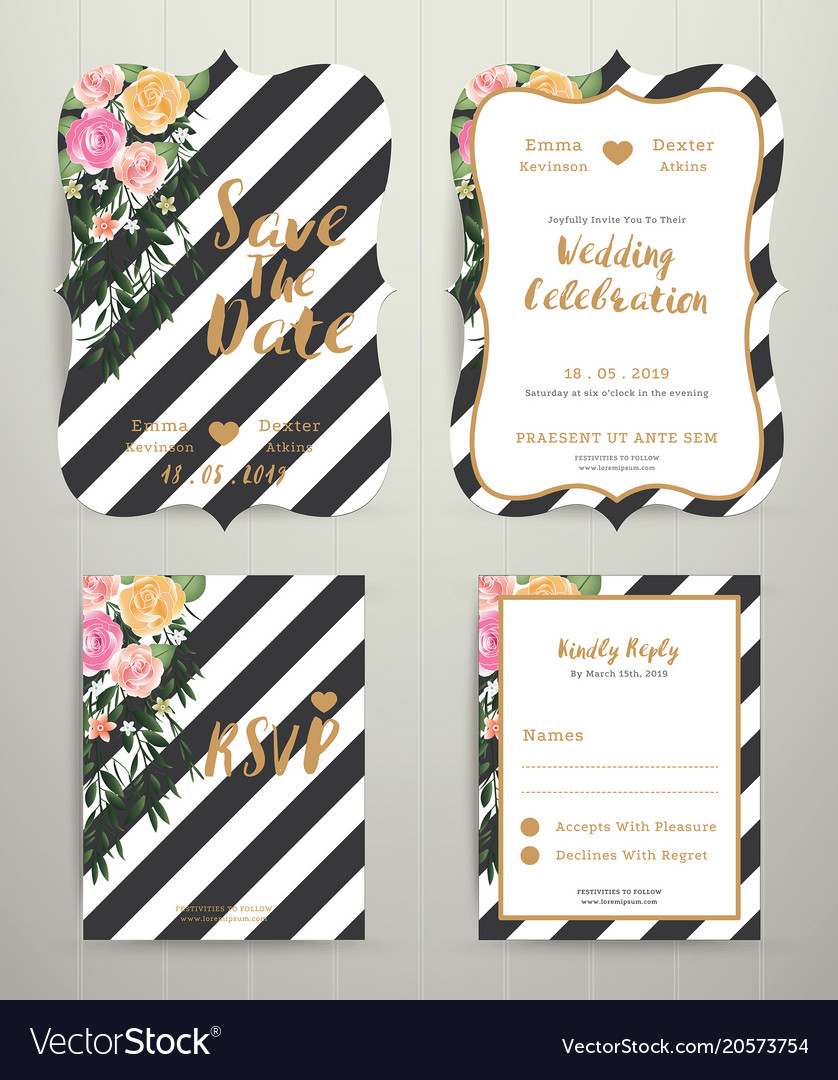 Modern wedding invitation card set on black and Vector Image