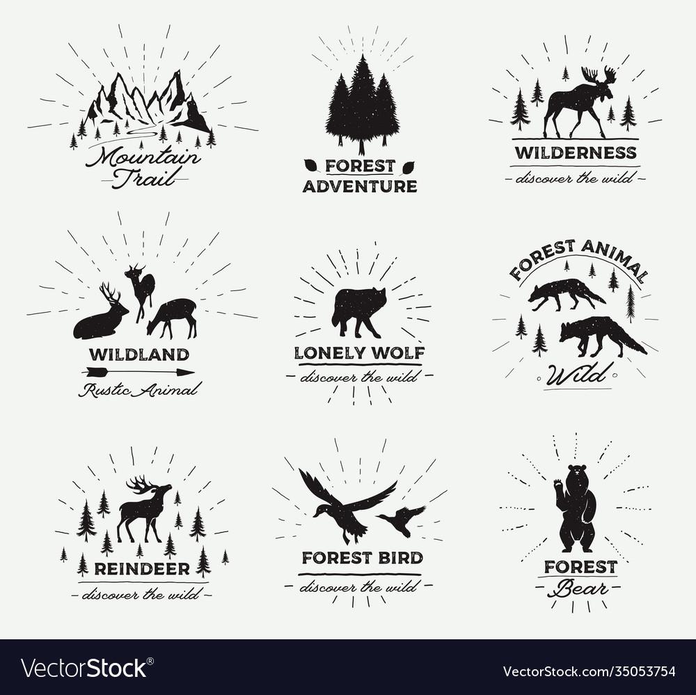 Outdoor emblems set wilderness quotes