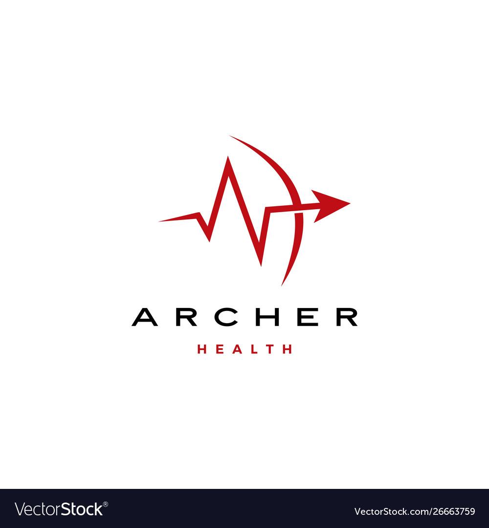 Archer arrow heart beat health logo icon