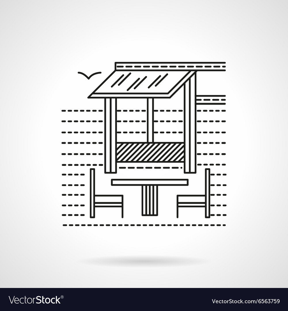 Cafe on the coast flat line icon vector image