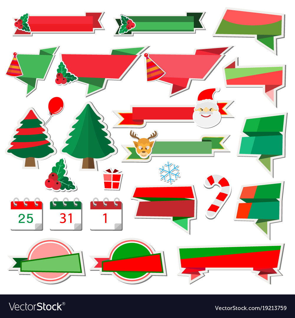 Christmas stickers icons with paper ribbon on