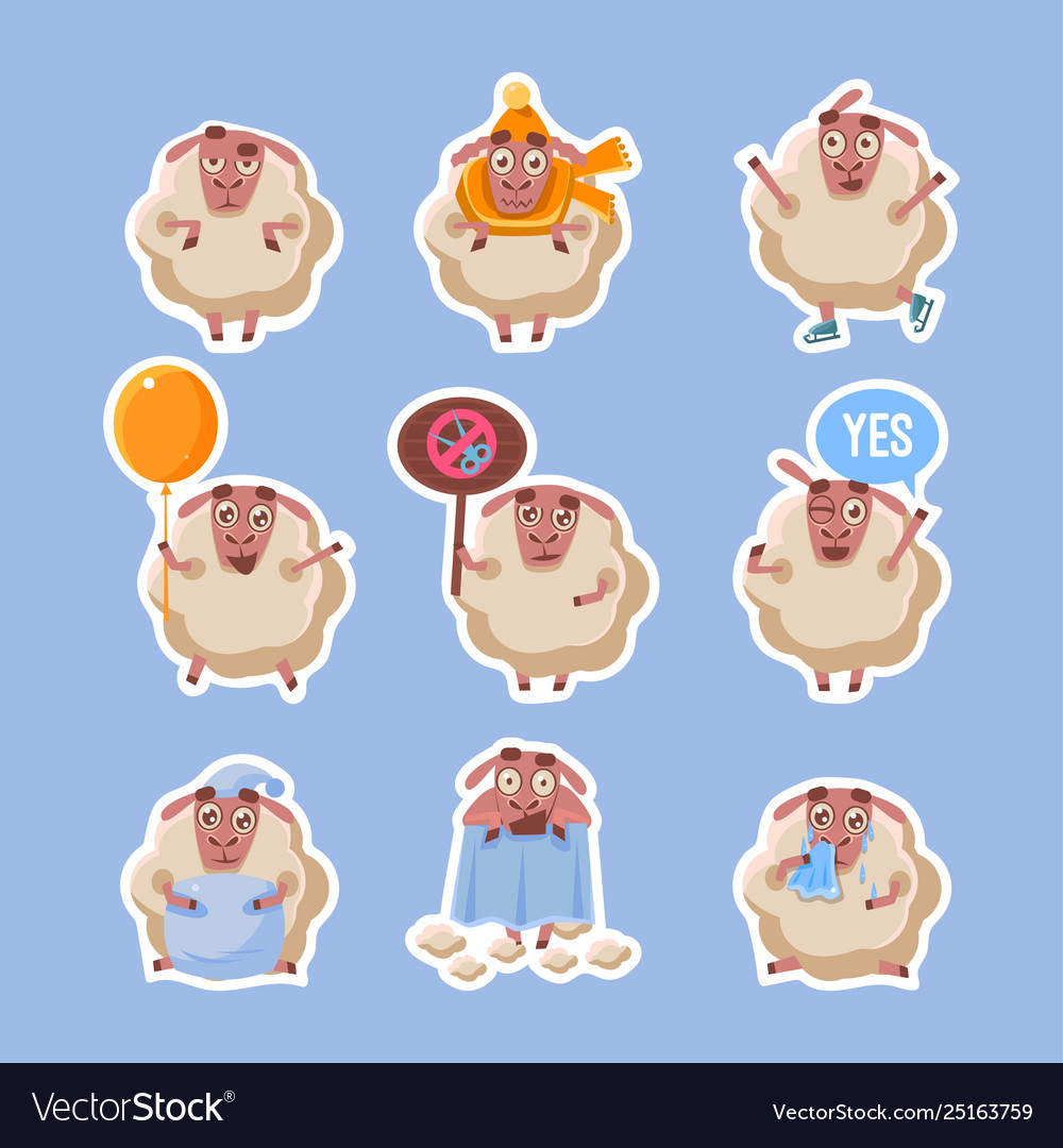 Collection sheep stickers funny farm fluffy