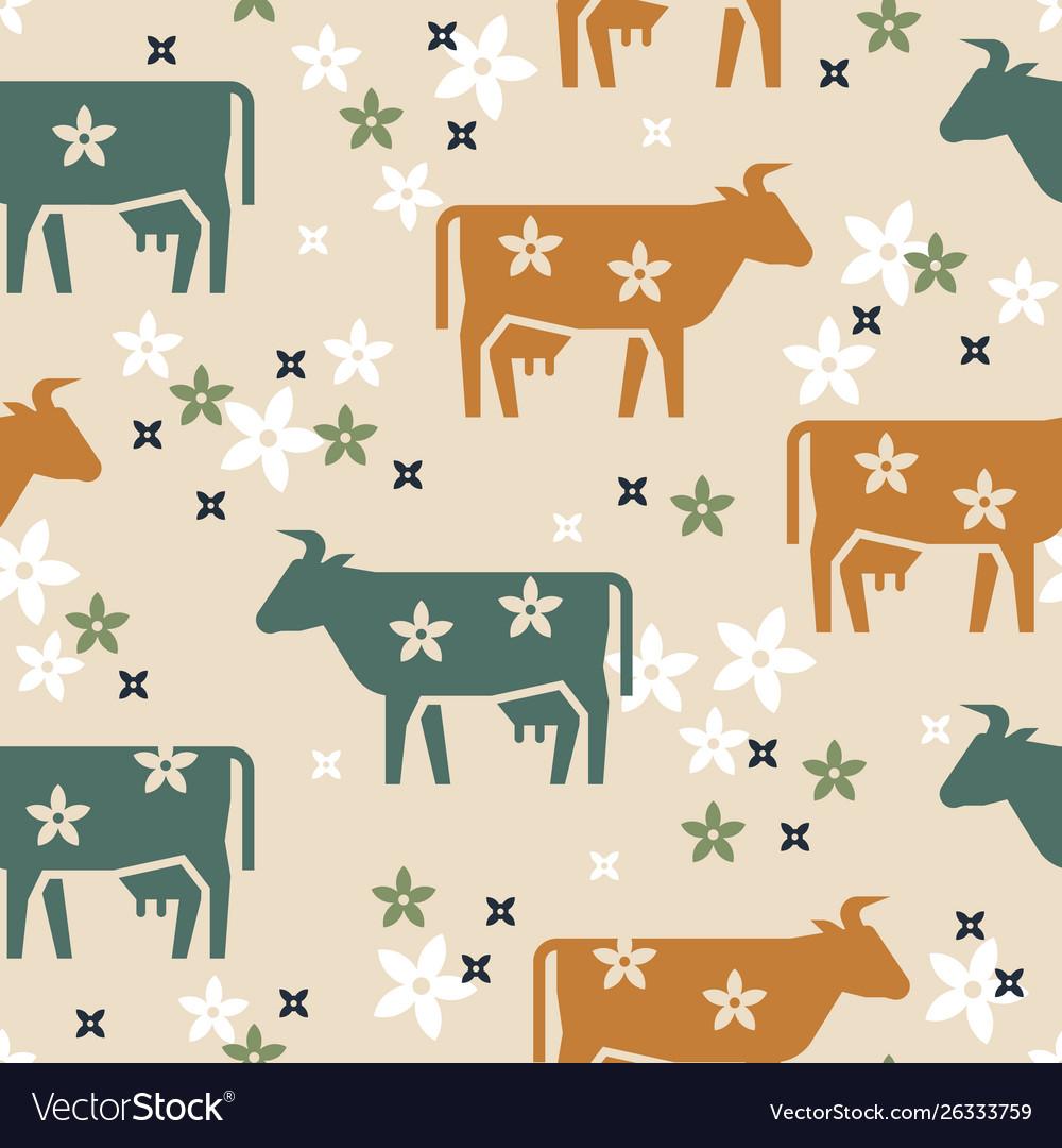 Cute seamless pattern farm animals cows