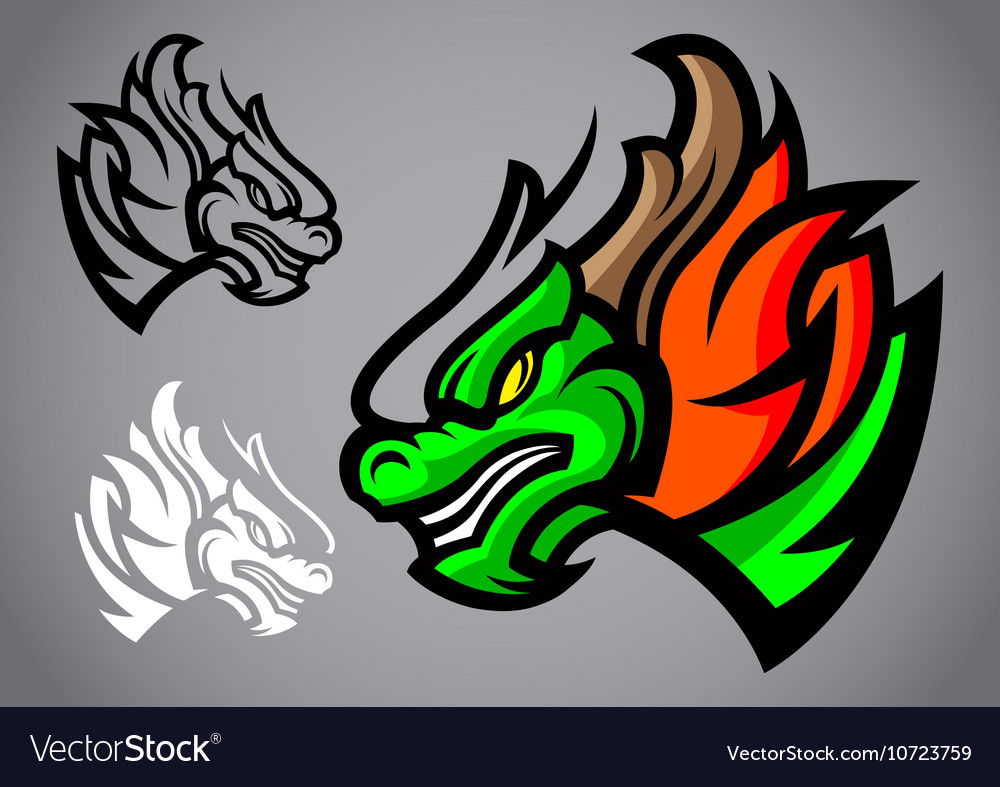 Dragon green head emblem logo