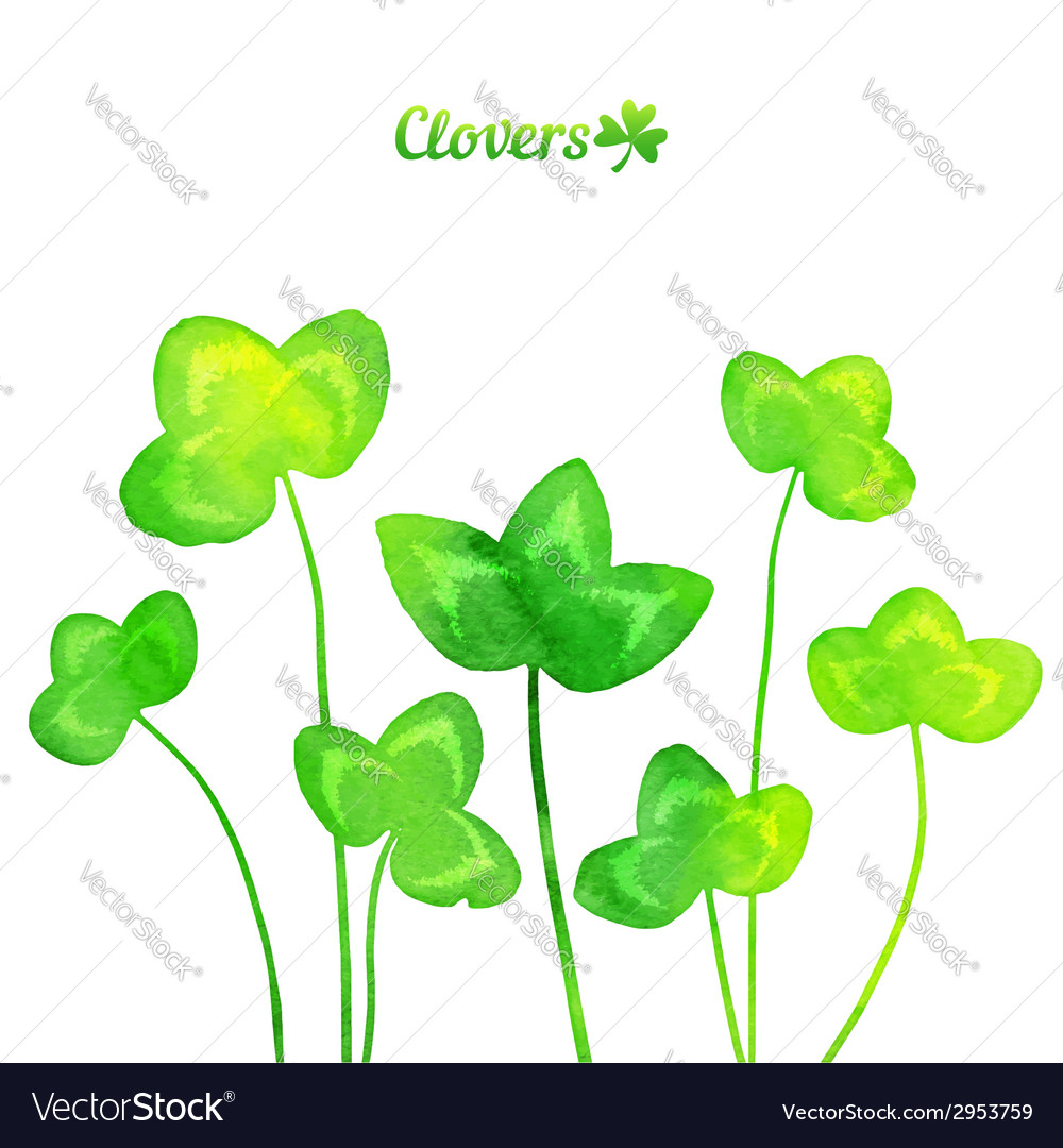 Green watercolor painted summer clover leaves