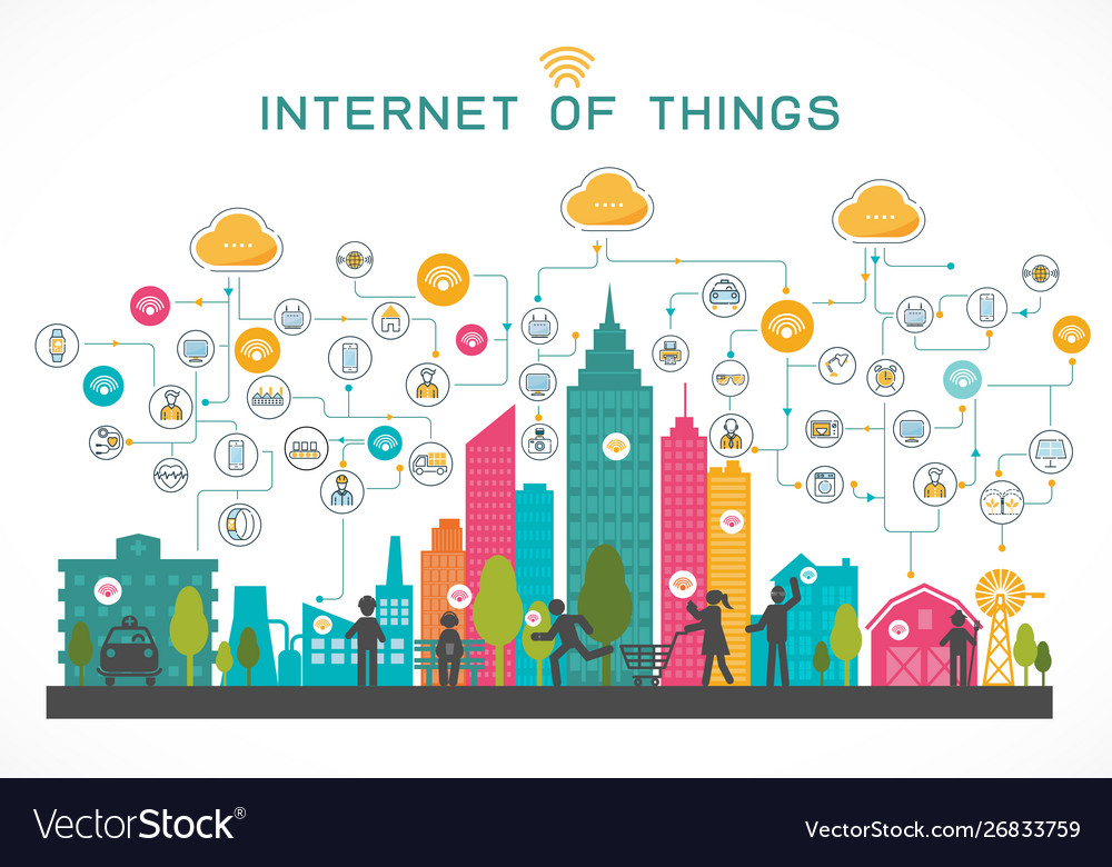 Internet things concept with people and system
