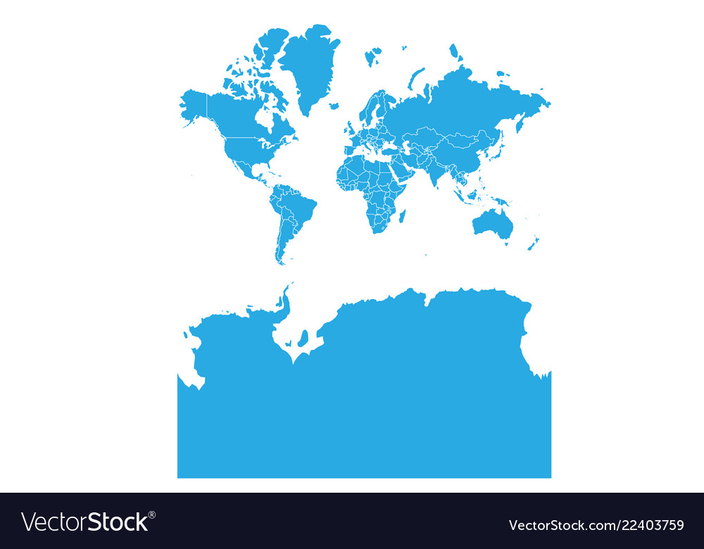 Map of world with antarctica high detailed map