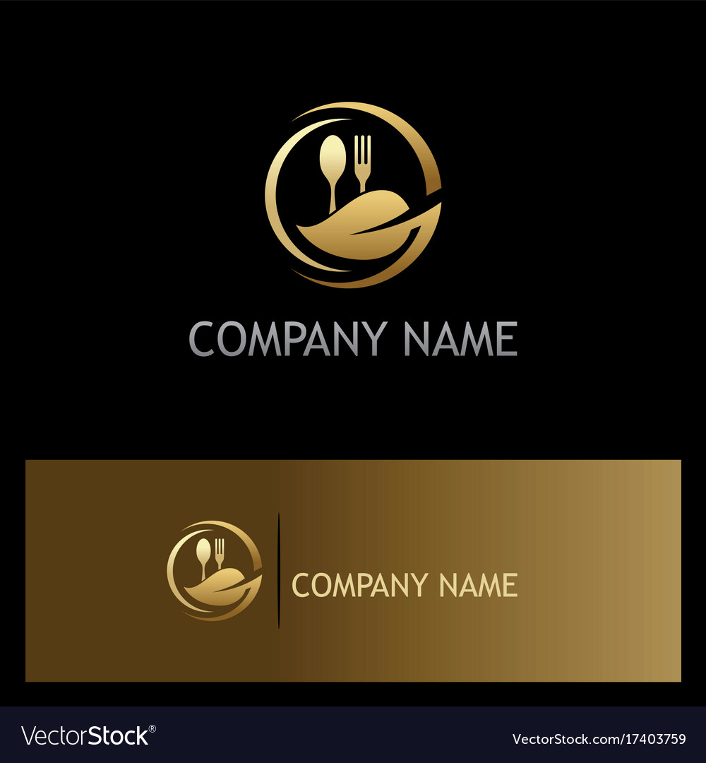 Organic Food Gold Luxury Logo Royalty Free Vector Image
