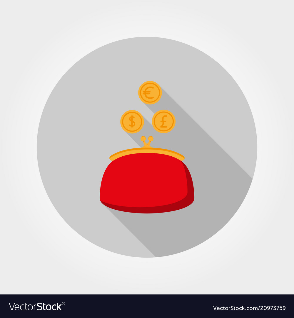 Purse and coin icon flat
