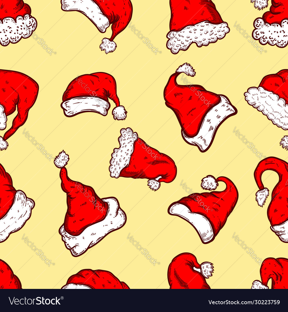 Seamless pattern with santa hats and snow design