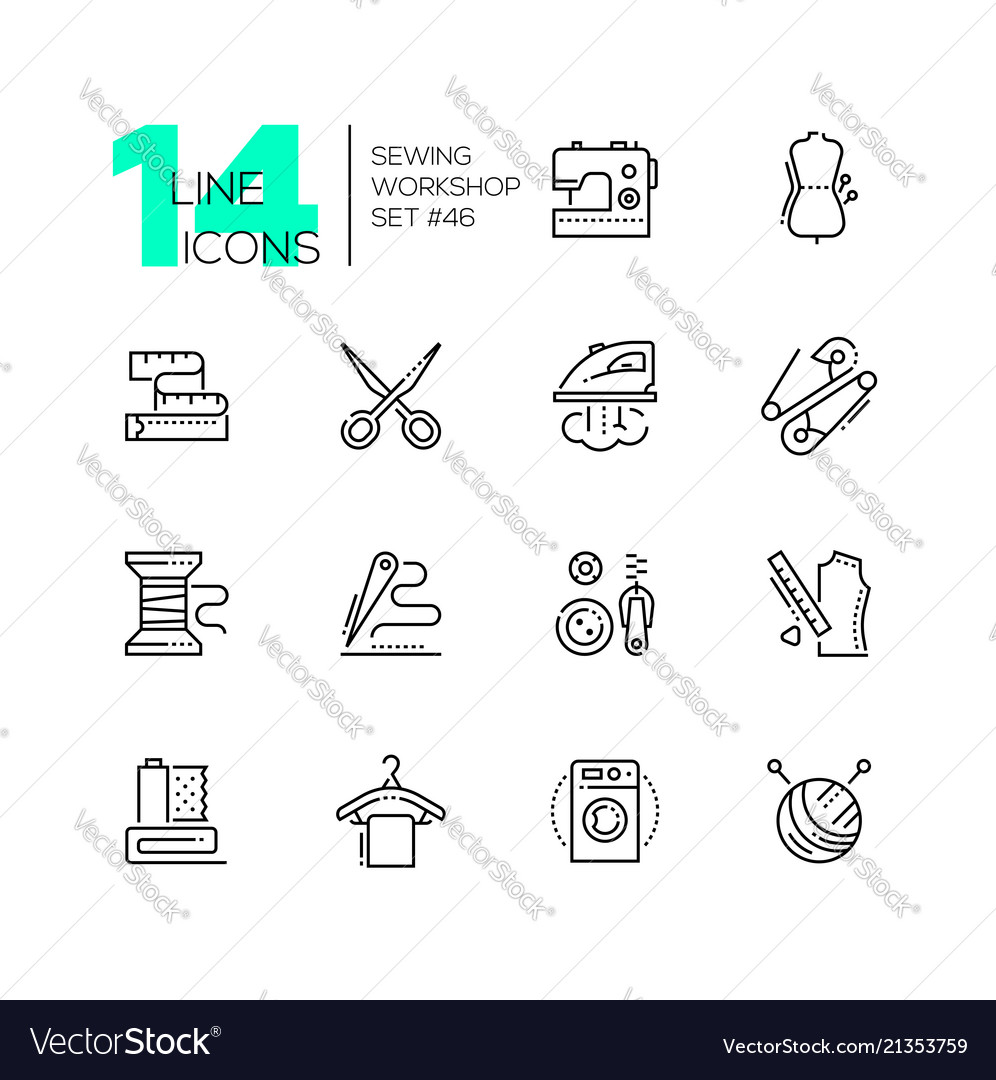 Sewing workshop - set of line design style icons