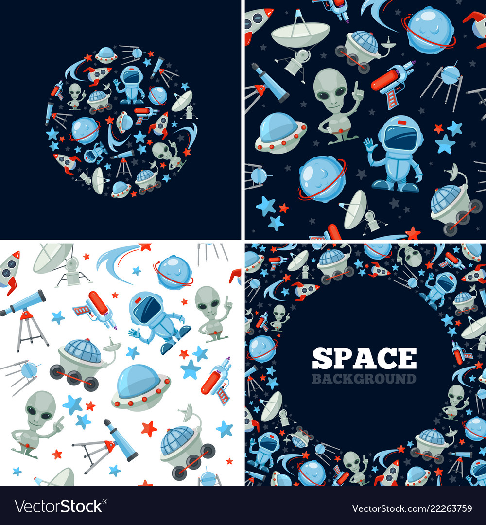Space Symbols Bundle Astronaut Alien Character Vector Image