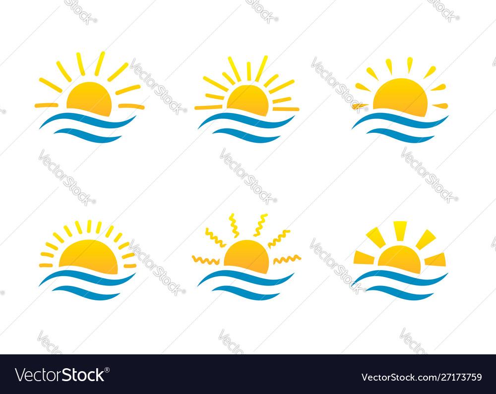 Sunrise and sea cartoon logo temlates collection