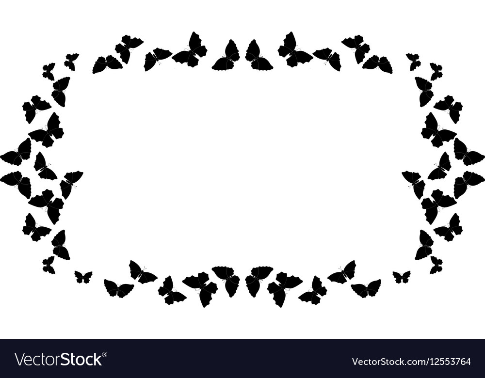 Butterflies frame Rectangle pattern border vector image