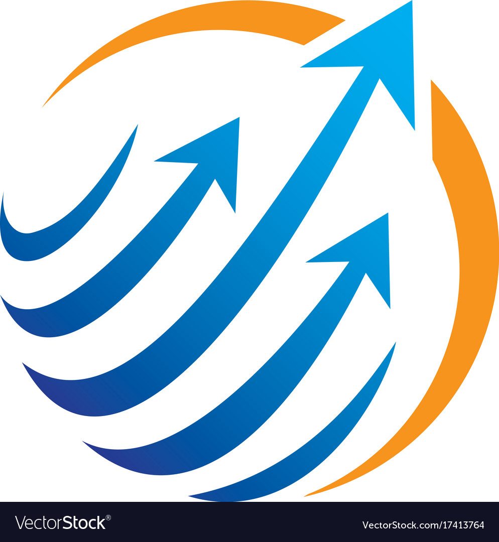 Circle arrow sphere communication logo vector image