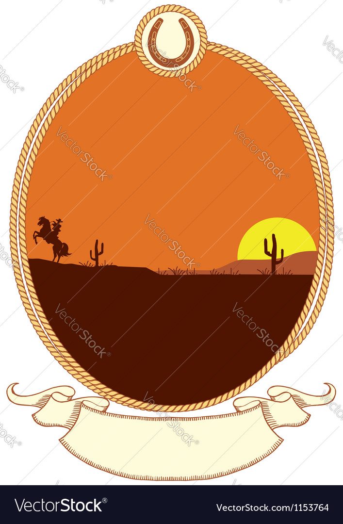 Cowboy western background with rope frame