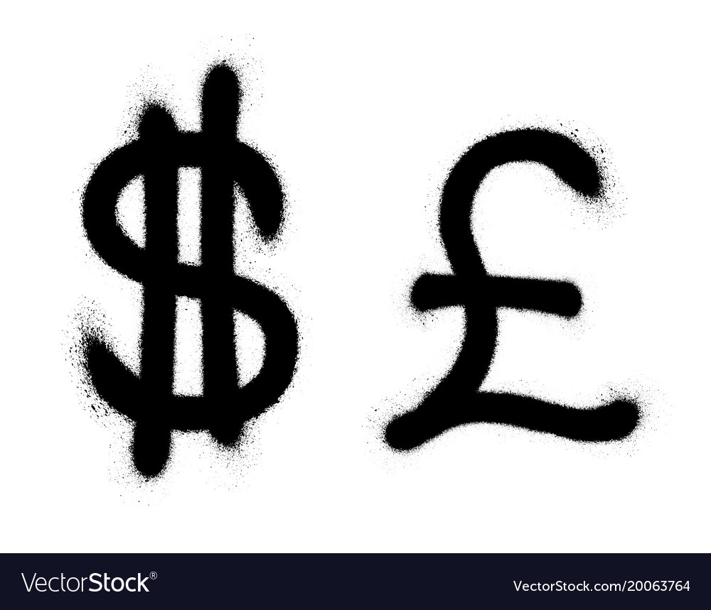 Currency Icons Set Black Spray Graffiti Symbol Of Vector Image