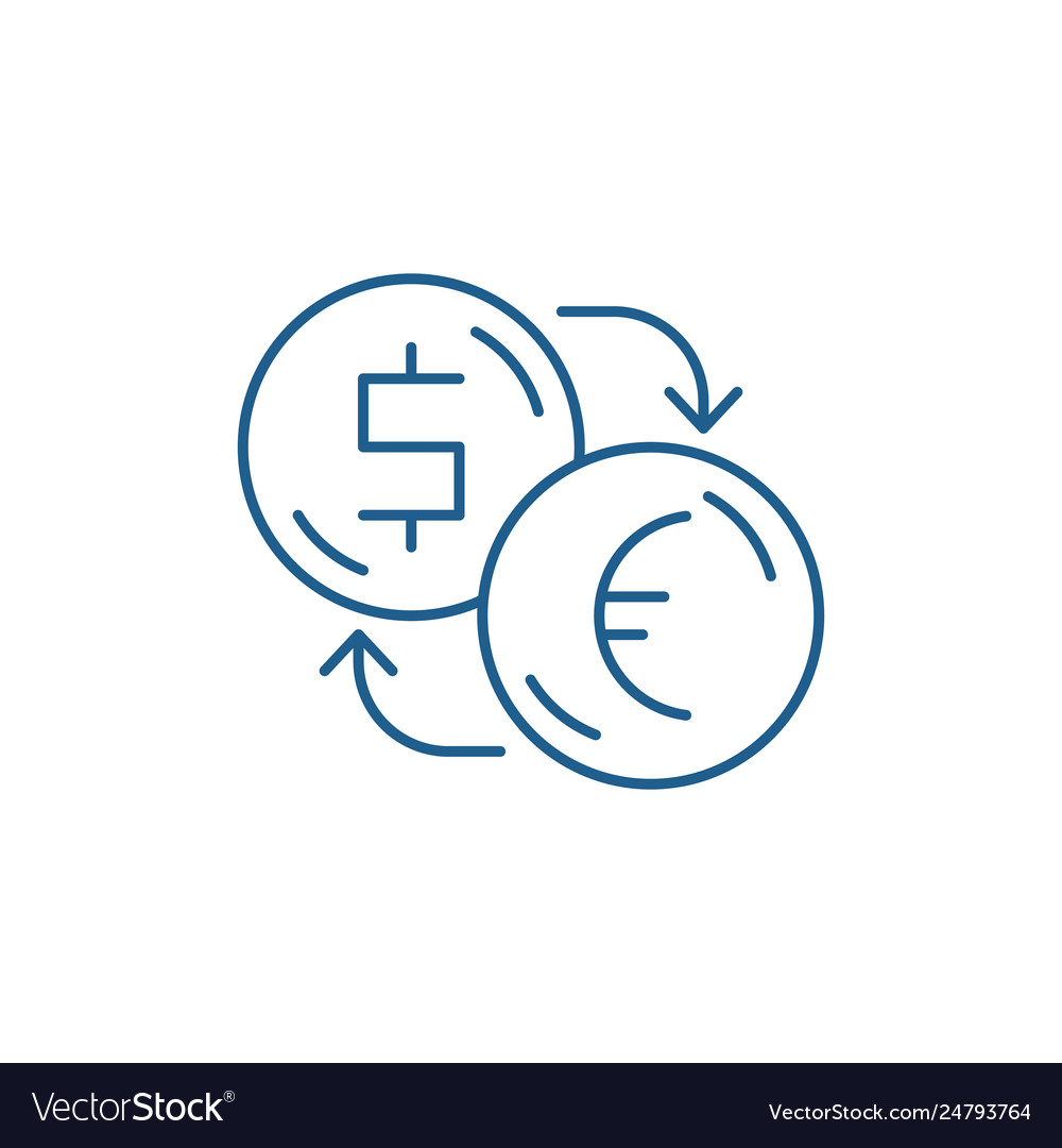 Exchange Dollars For Euros Line Icon Concept