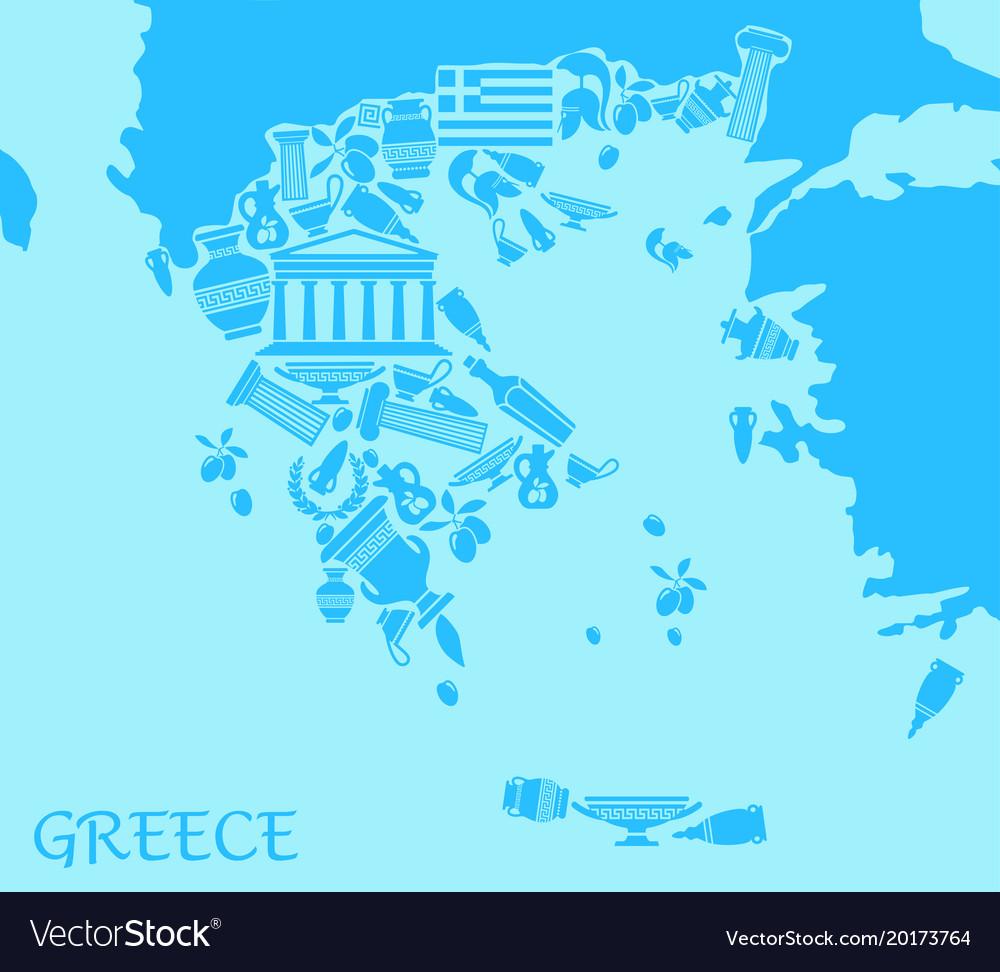 Greece map Royalty Free Vector Image - VectorStock