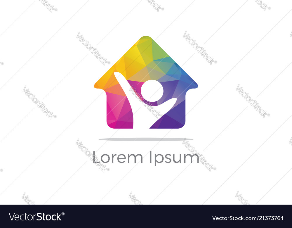 Happy colorful home icon real estate logo
