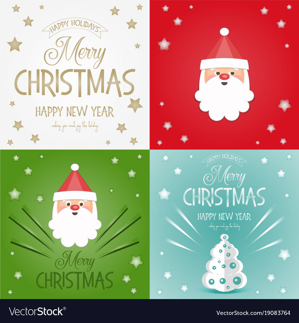 Merry christmas greeting cards set Royalty Free Vector Image