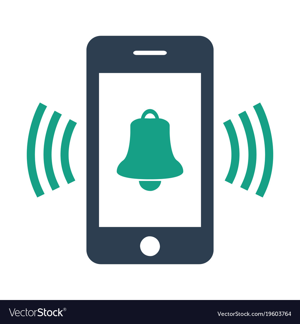 Smartphone call with bell on white background